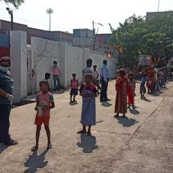 Food distribution as part of relief work carried out by Kolkata Port Trust to tackle Coronavirus pandemic