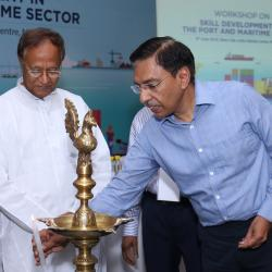 Lighting of the lamp ceremony by Secretary (Shipping) Sh. Gopal Krishna at the inaguration of the workshop