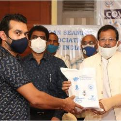 Hon'ble Minister Shripad Y. Naik during the launching ceremony of 'Covid Care Kits for Seafarers organized by Goa Seamen Association of India in association with Seafarers International Relief Fund (SIRF) and Sailors' Society at Margao, Goa