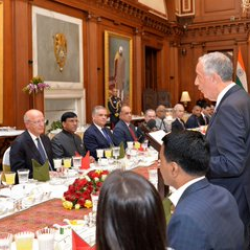 Warm welcome was accorded to His Excellency Marcelo Rebelo de Sousa, President of Portugal by Hon'ble President of India at Rashtrapati Bhawan @rashtrapatibhvn