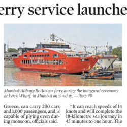 The ROPAX service between Mumbai & Mandwa would promote waterways as a transportation mode