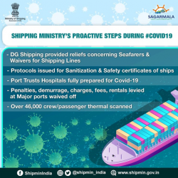 The steps undertaken are envisioned towards curbing and welfare of the countrymen. Abled seafarers & port officials are taking care of the supply chain. Thermal scanning, sanitization & all precautionary safety measures are being enforced strictly.