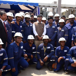 Labourers are harbingers of progress of nation! Met the group of dexterous workers, with discipline and dedication they lay the foundation for a #NewIndia, in true sense they are our 'Nation Builders'!
