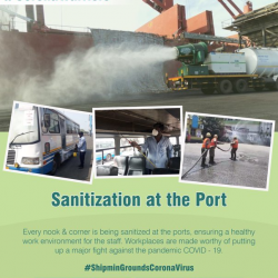 Sanitization continues at various ports, promising a healthier work atmosphere. A safer work place will eradicate the chances of spreading the pandemic, increasing the productivity of all.