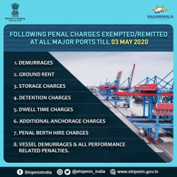 DG Shipping has revised & notified order for remission of penal charges, demurrages, detention & anchorage charges etc till 3 May @ all major Ports to mitigate challenges being faced by traders and users of the ports. Its a one-time measure due to prevailing #Covid_19 Pandemic.