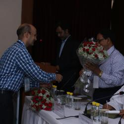 Sh.D K Rai, Director, Sagarmala welcoming Sh.Sharda Prasad, Advisor