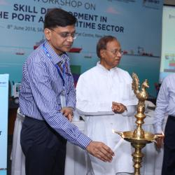 Sh.Kailash Kumar Aggarwal, Joint Secretary, Sagarmala lighting teh lamp at the inaguration of the workshop