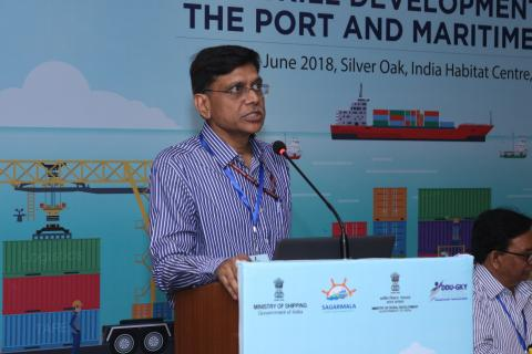 Sh. Kailash Kumar Aggarwal, Joint Secretary, Sagarmala, speaking at the workshop on ' Skill Development in the Port & Maritime Sector'