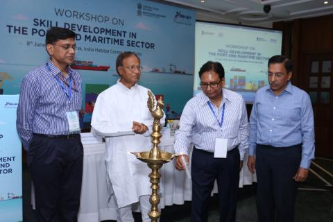 Sh. Sharda Prasad, Advisor, lighting the lamp at the workshop on ' Skill Development in the Port & Maritime Sector'